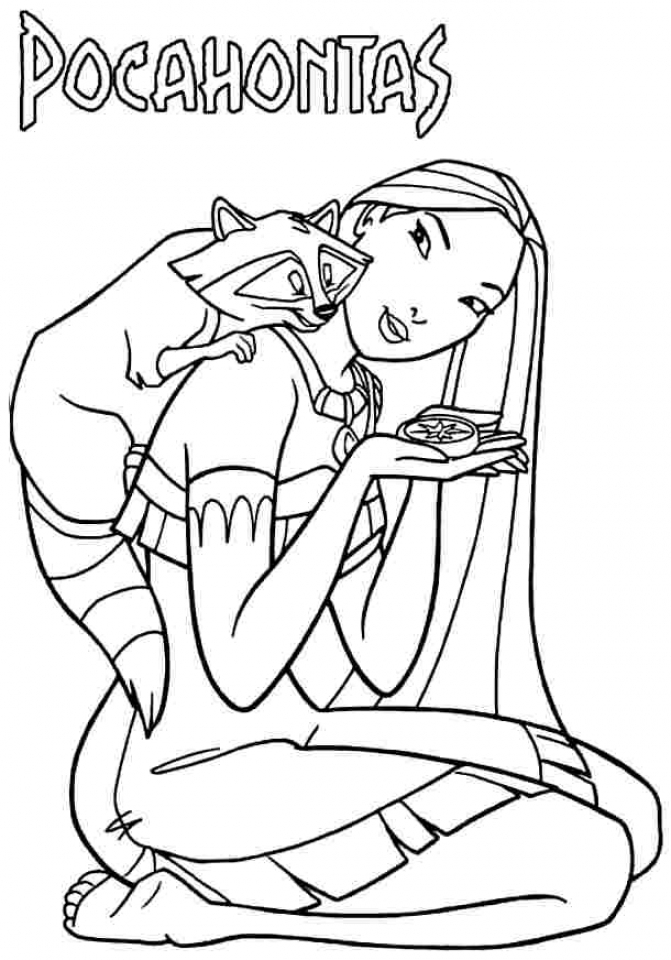 Simple Pocahontas Coloring Pages to Print for Preschoolers   0VJOR