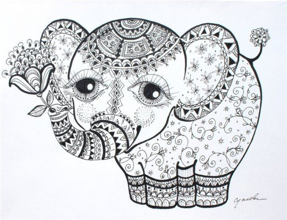 Get This Abstract Elephant Coloring Pages 886432
