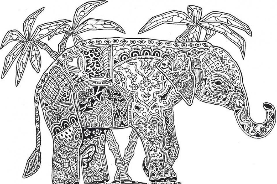 Advanced Elephant Coloring Pages   6342900