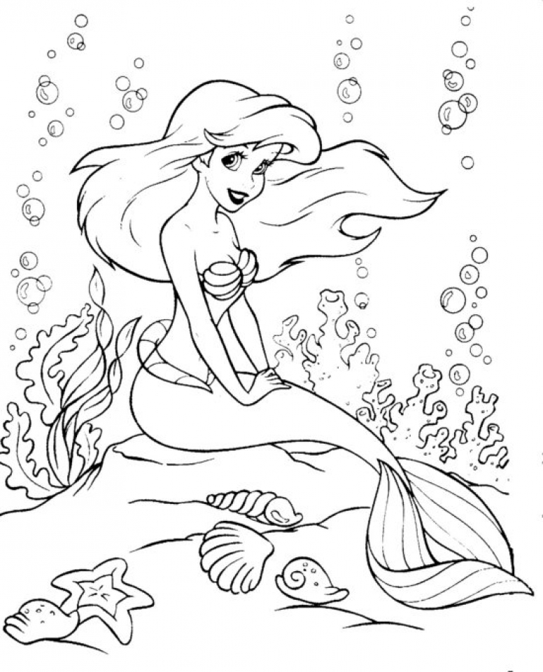 Ariel Coloring Pages to Print for Kids   aiwkr