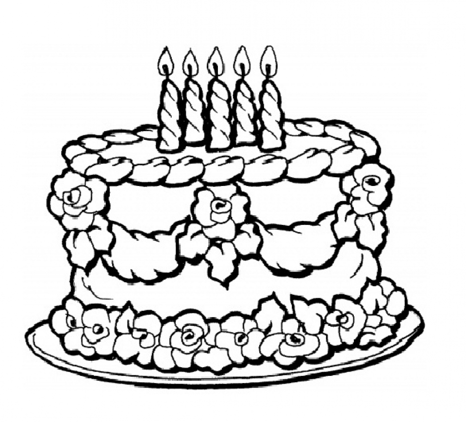 Birthday Cake Coloring Pages Printable Miakenasnet