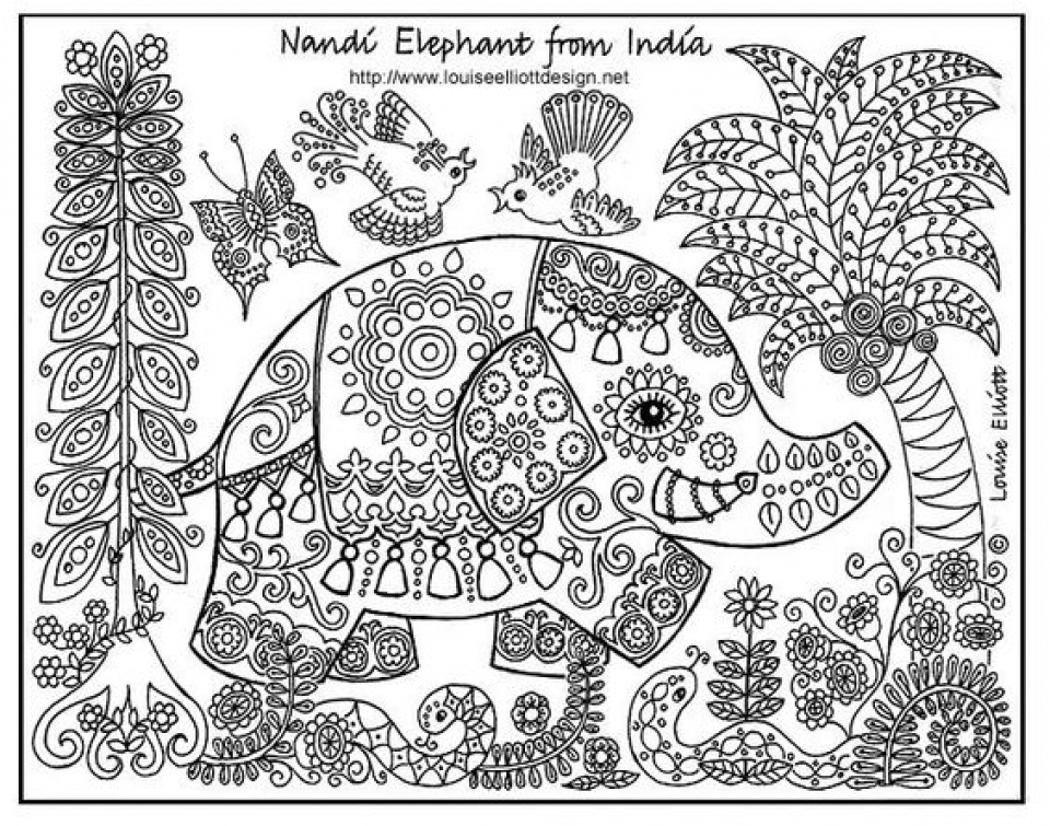 get this challenging coloring pages of elephant for adults 9n9d9 ! - Challenging Animal Coloring Pages