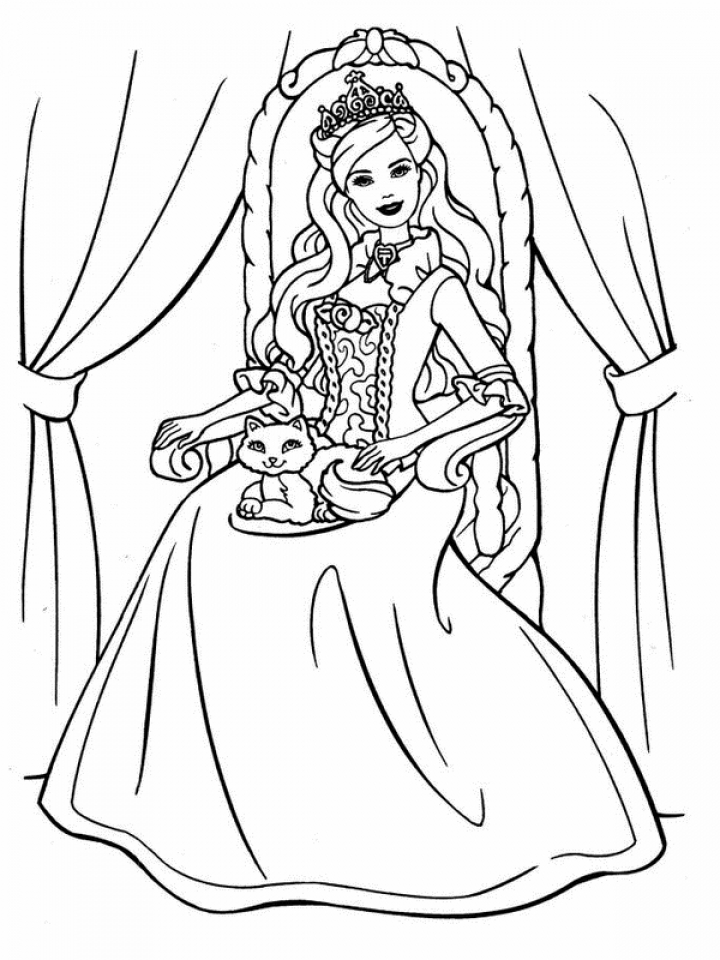 barbie coloring pages childrens printable - Free Printable Barbie Coloring Pages