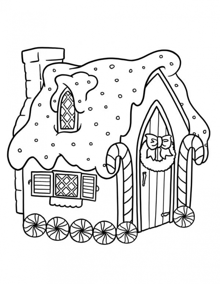 Easy Christmas Coloring Page Gingerbread House
