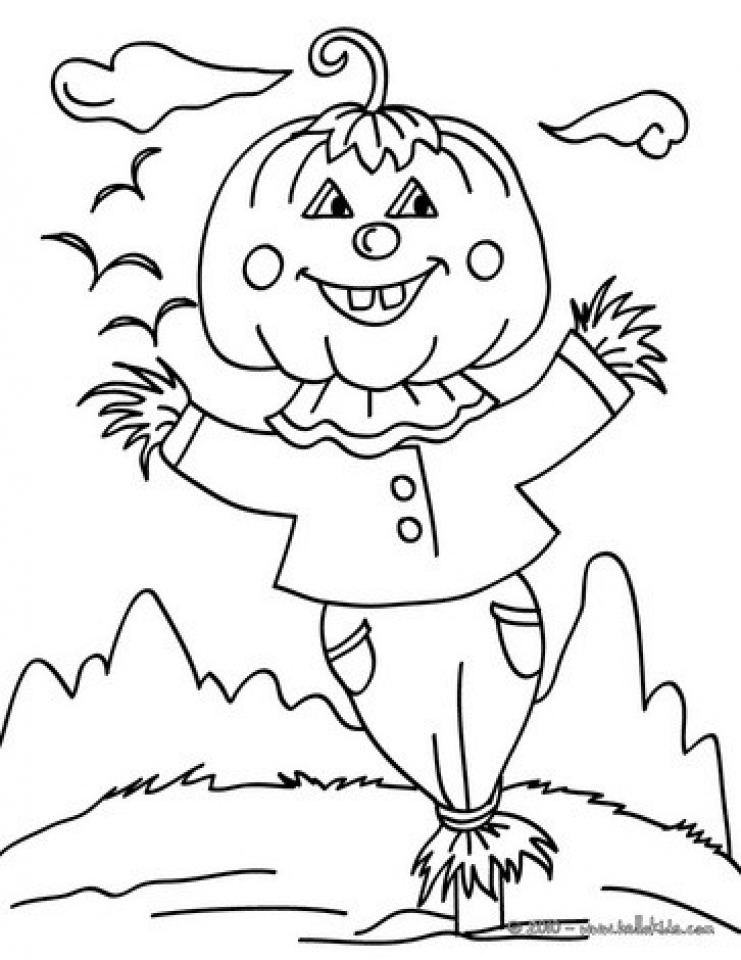 Easy Preschool Printable of Scarecrow Coloring Pages   A5BzR