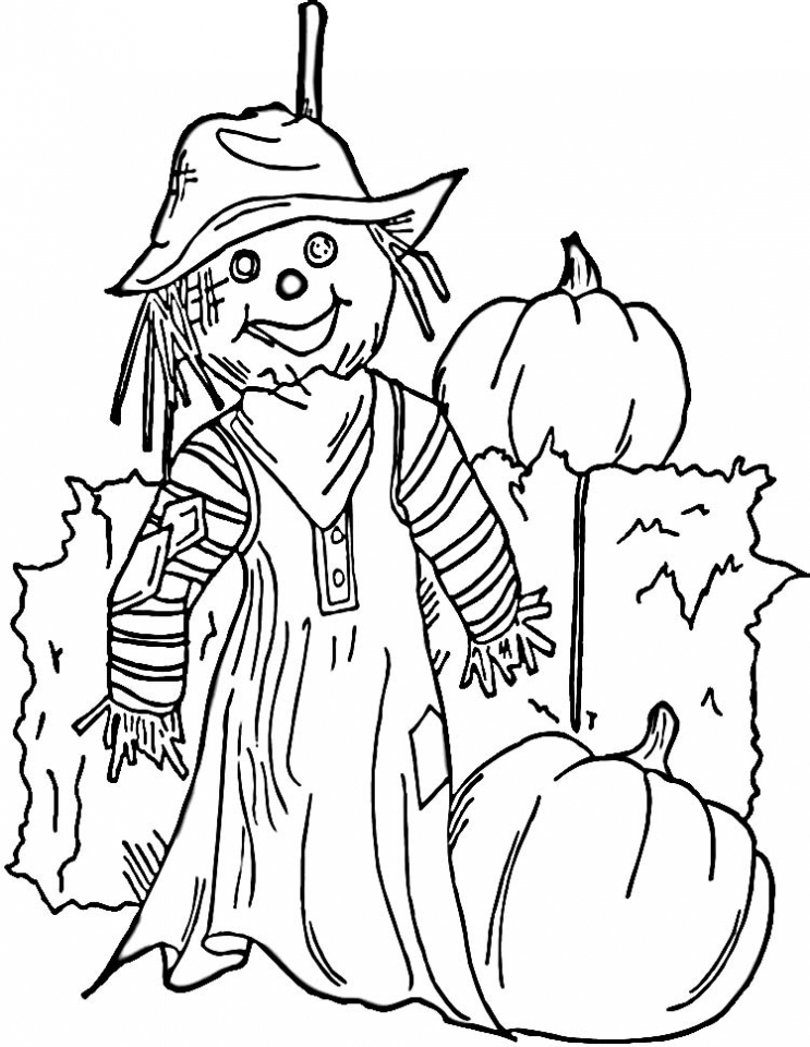 Get This Easy Printable Scarecrow Coloring Pages For