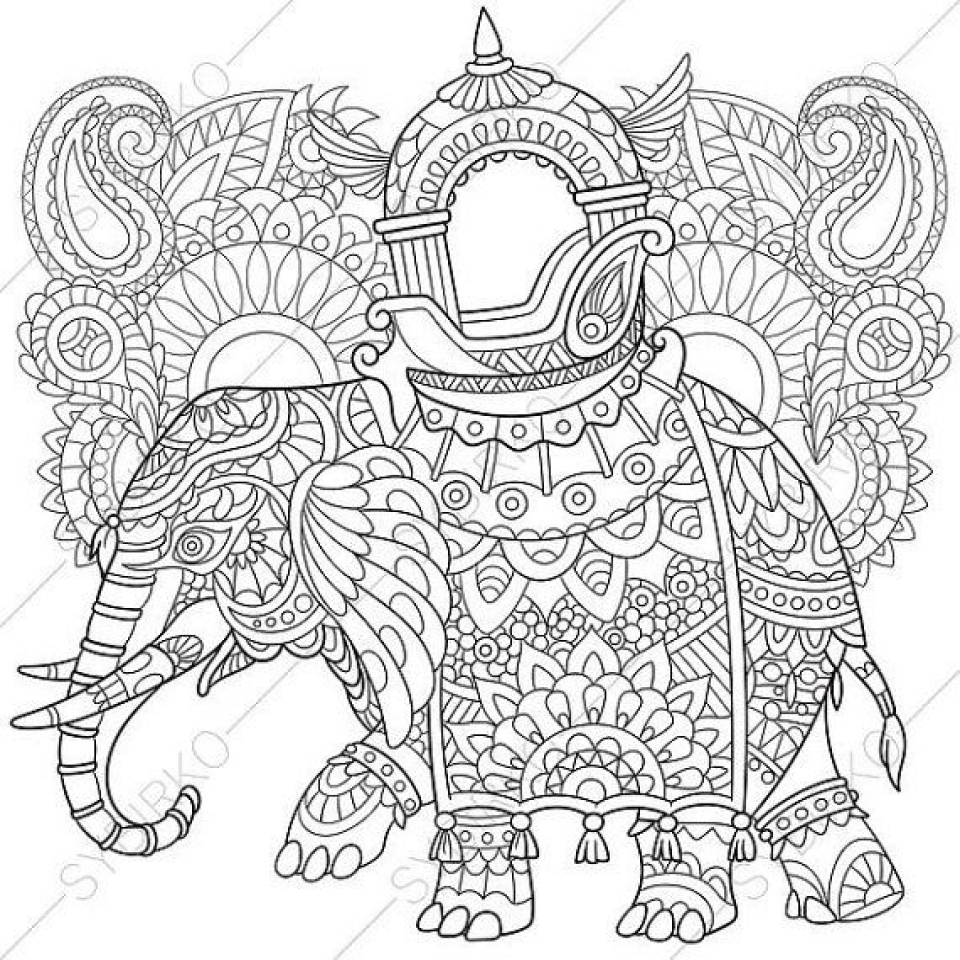 Get this free printable elephant coloring pages for adults Coloring book elephant