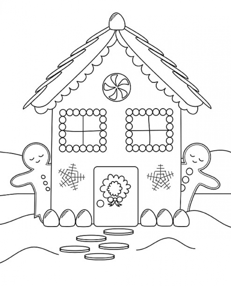 get this free printable gingerbread house coloring pages