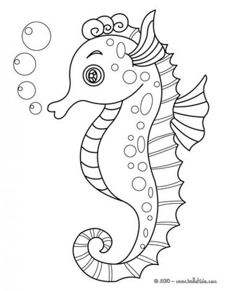 Cute baby seahorse coloring pages