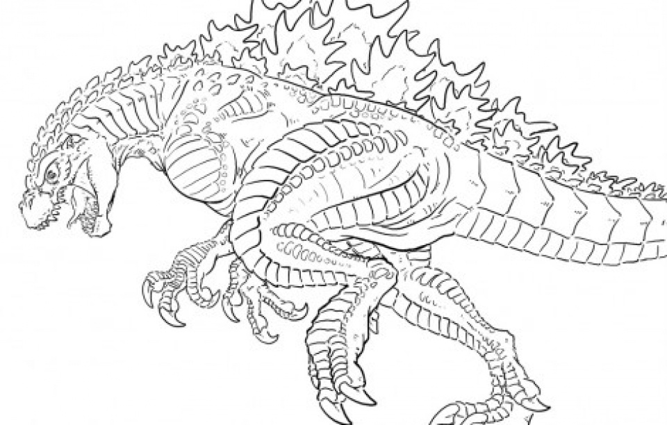 get this free simple godzilla coloring pages for children t6gbg ! - Printable Godzilla Coloring Pages