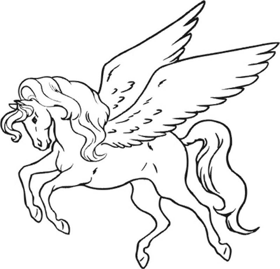 Unicorn with rainbow coloring pages