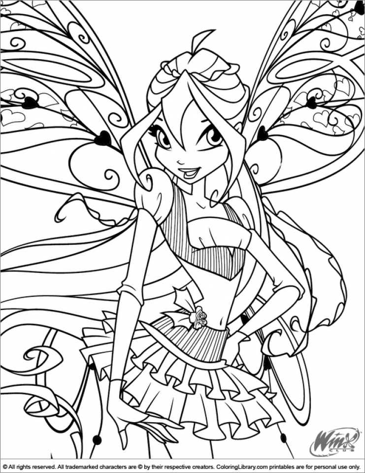 Free Winx Club Coloring Pages for Kids   yy6l0