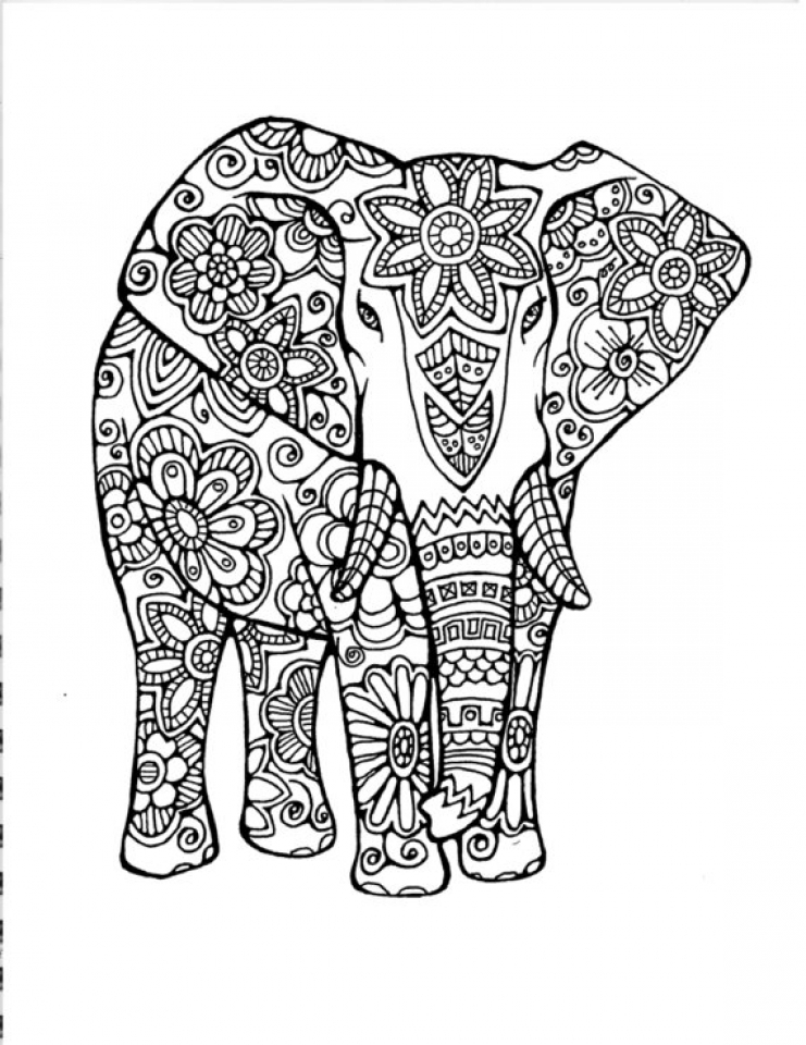 Get this hard elephant coloring pages for adults 13579 Coloring book for adults 2017