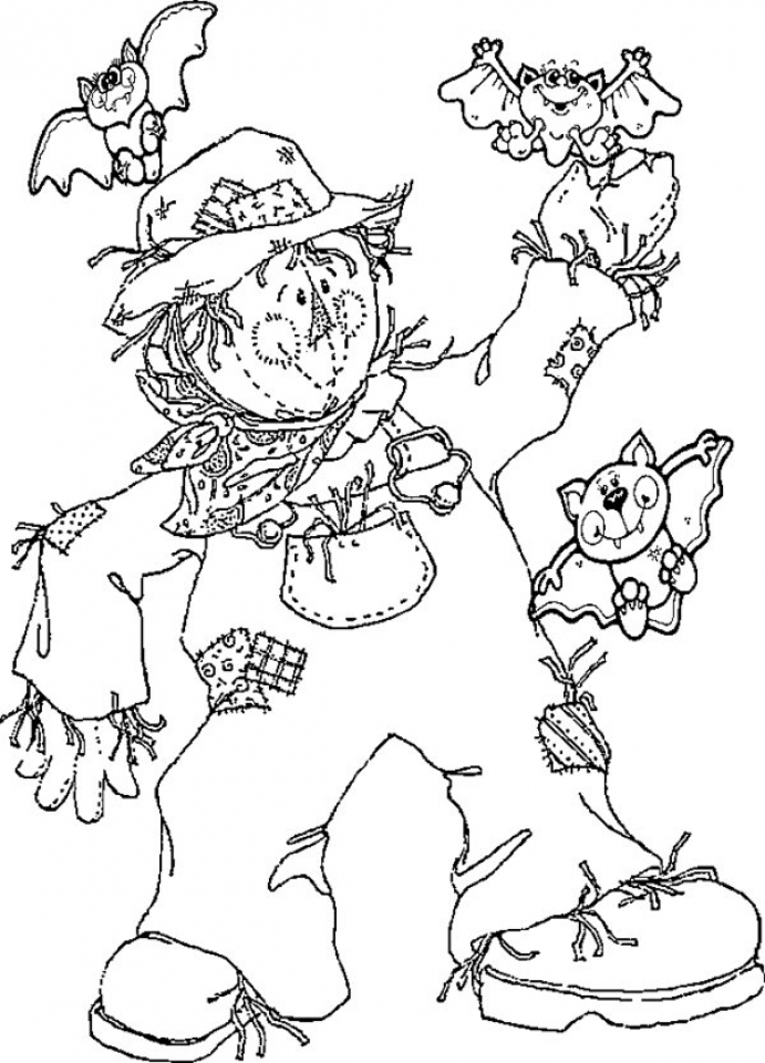 Image of Scarecrow Coloring Pages to Print for Kids   EhR0n