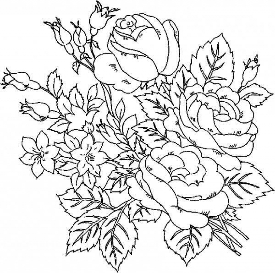 20 free printable roses coloring pages for adults for Coloring pages roses