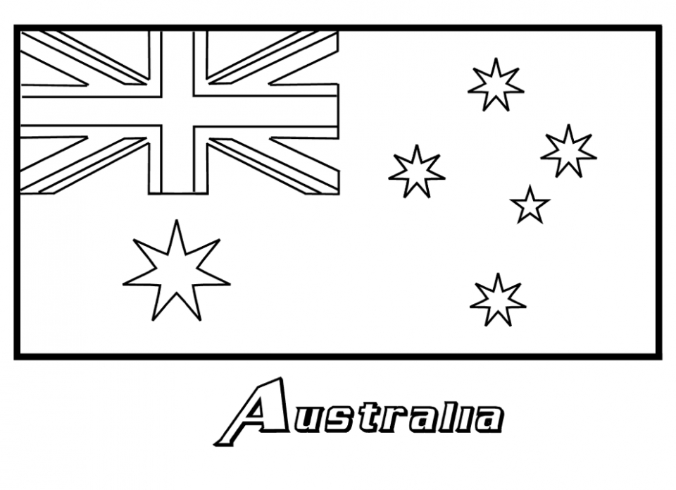 Flag coloring pages preschoolers flag best free coloring for Australia day coloring pages
