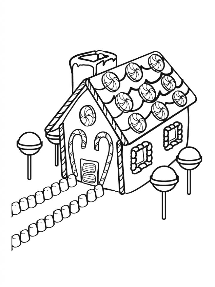 Gingerbread House Coloring Page  hanvitacom