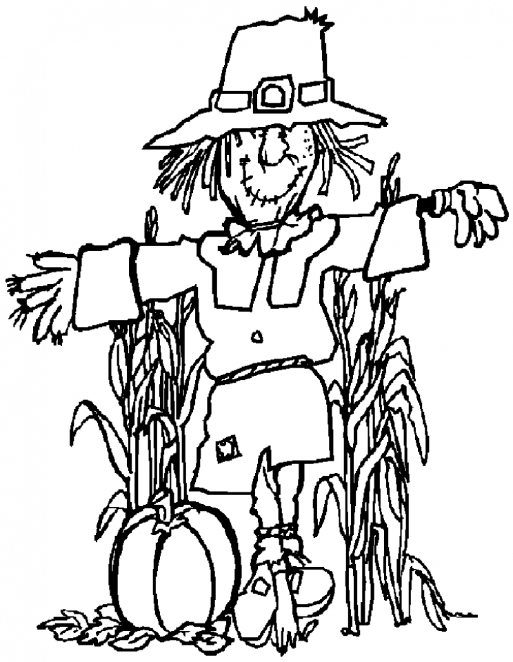 scarecrow coloring pages to print for kids kifps