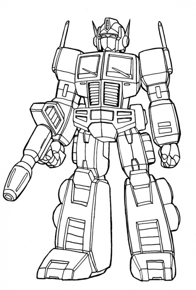 Simple Optimus Prime Coloring Page to Print for Preschoolers   cdsxi
