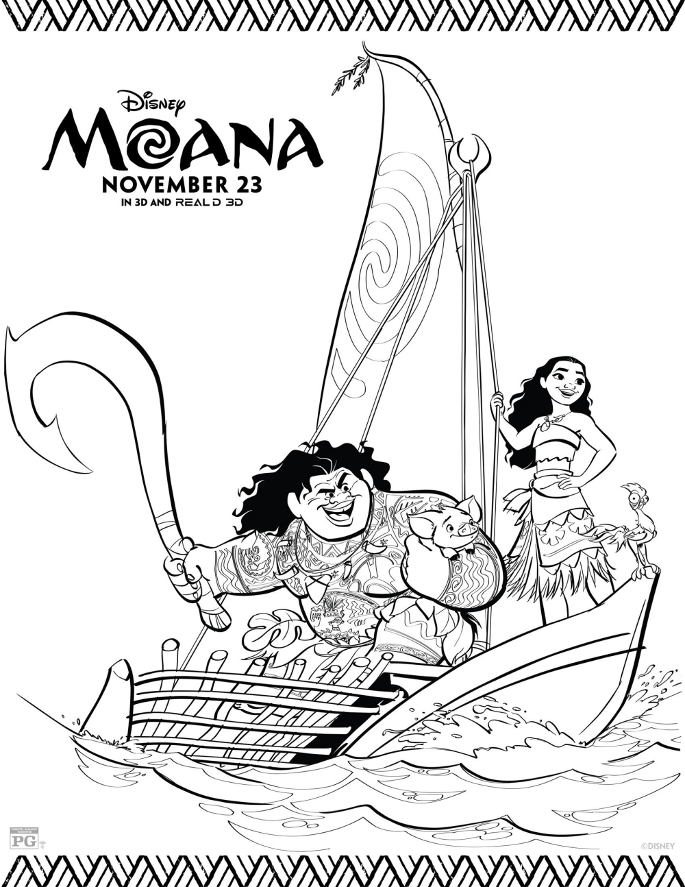 20 Free Printable Disney Princess Moana Coloring Pages