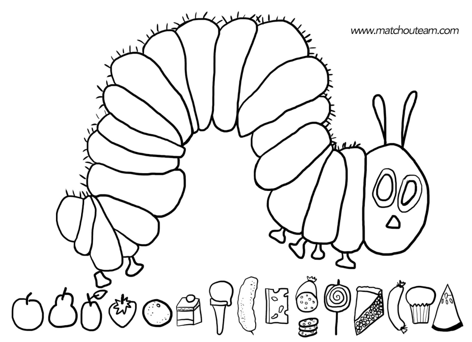The Very Hungry Caterpillar Coloring Pages Free for Kids - 34675