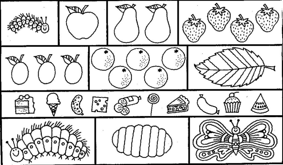 The Very Hungry Caterpillar Coloring Pages Free for Kids - 36581