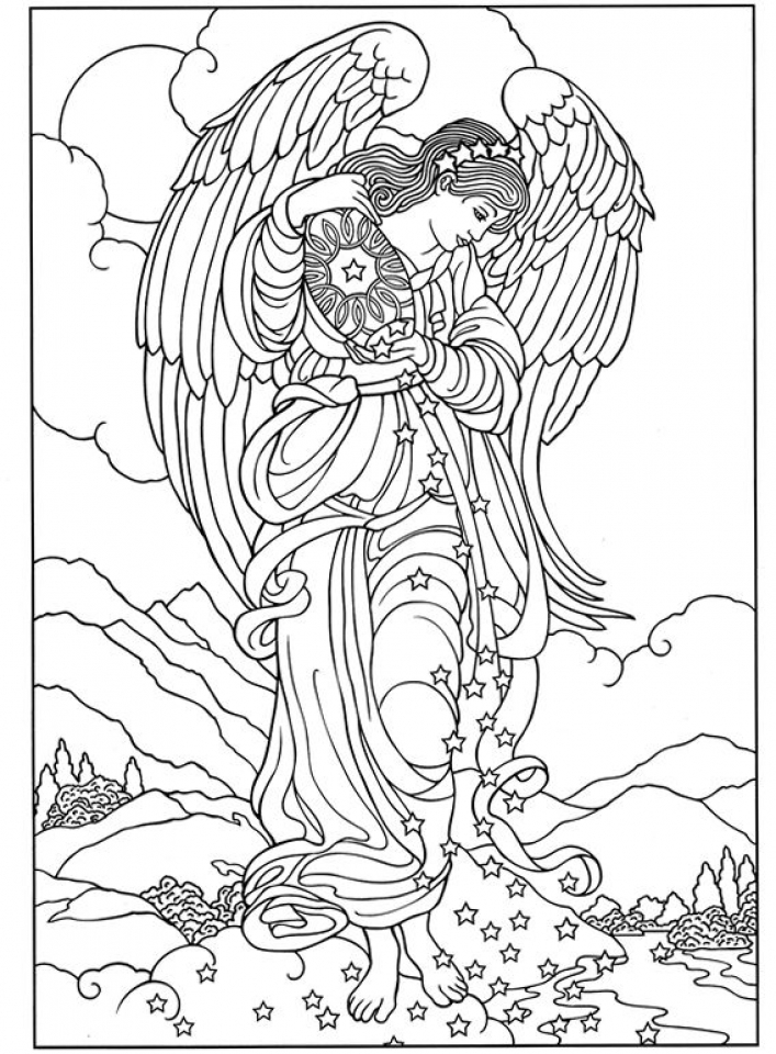 angel color pages - 20 free printable angel coloring pages for adults