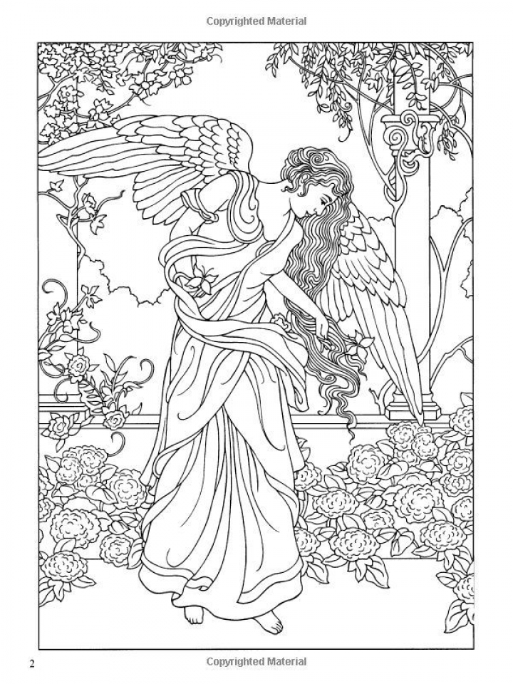 Angel Fantasy Coloring Pages for Adults   PO64M