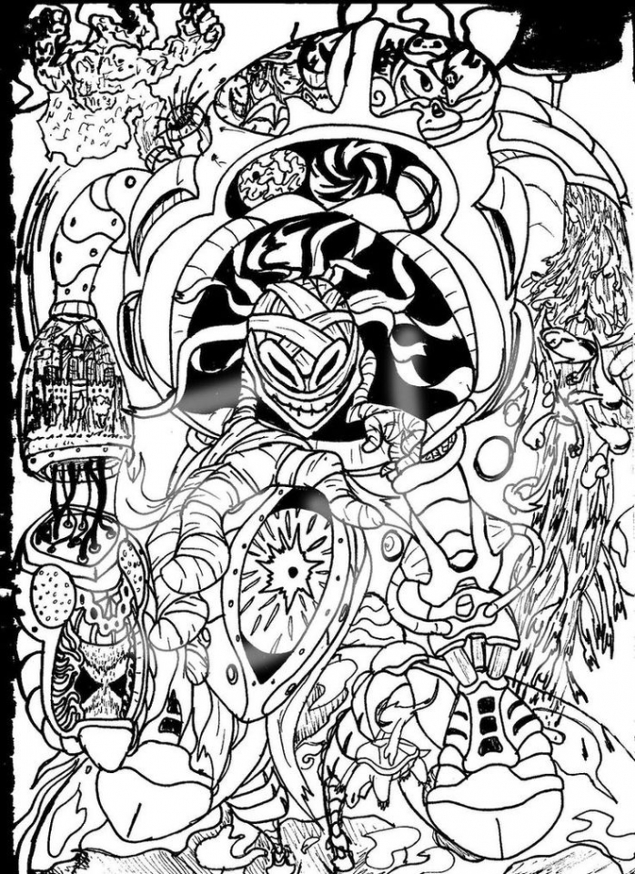 Get This Challenging Trippy Coloring Pages for Adults D6B4U