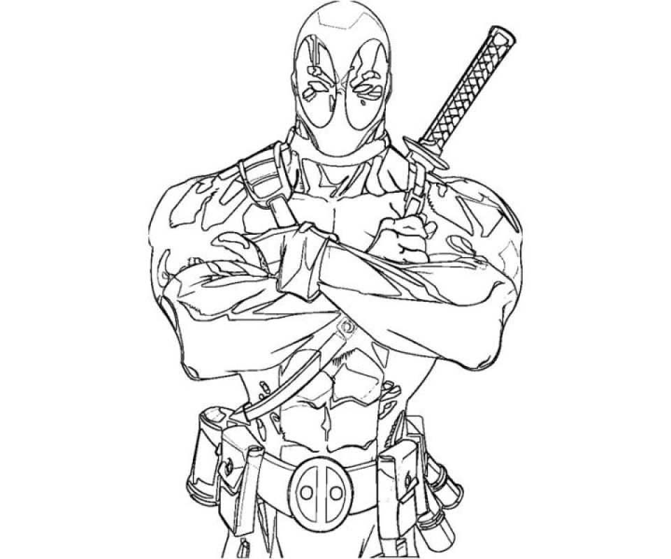for superhero deathpool free colouring pages