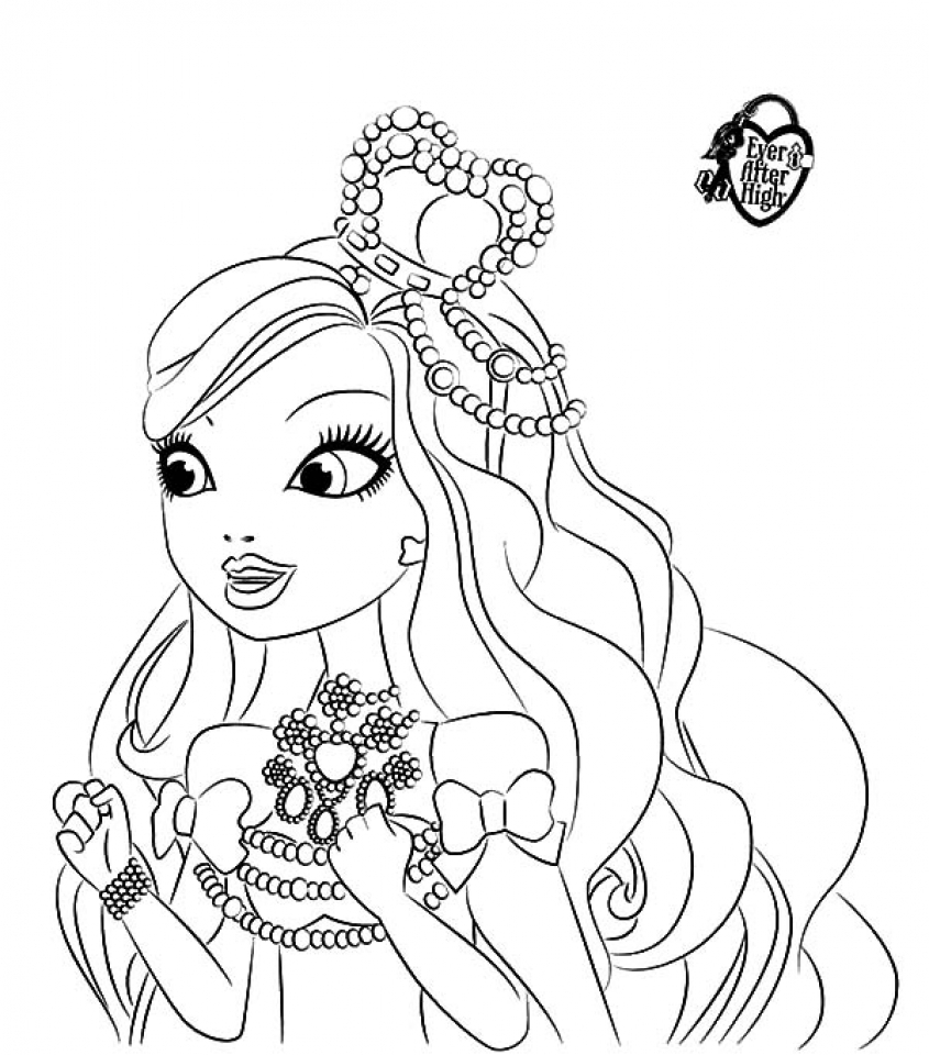 Ever After High Coloring Pages To Print Apple White