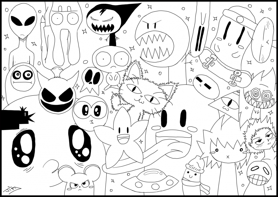 Exciting Doodle Art Grown up Coloring Pages Free   87vg7