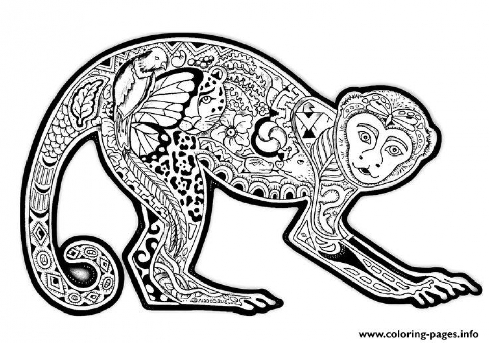 Free Difficult Animals Coloring Pages for Grown Ups   KJWP87