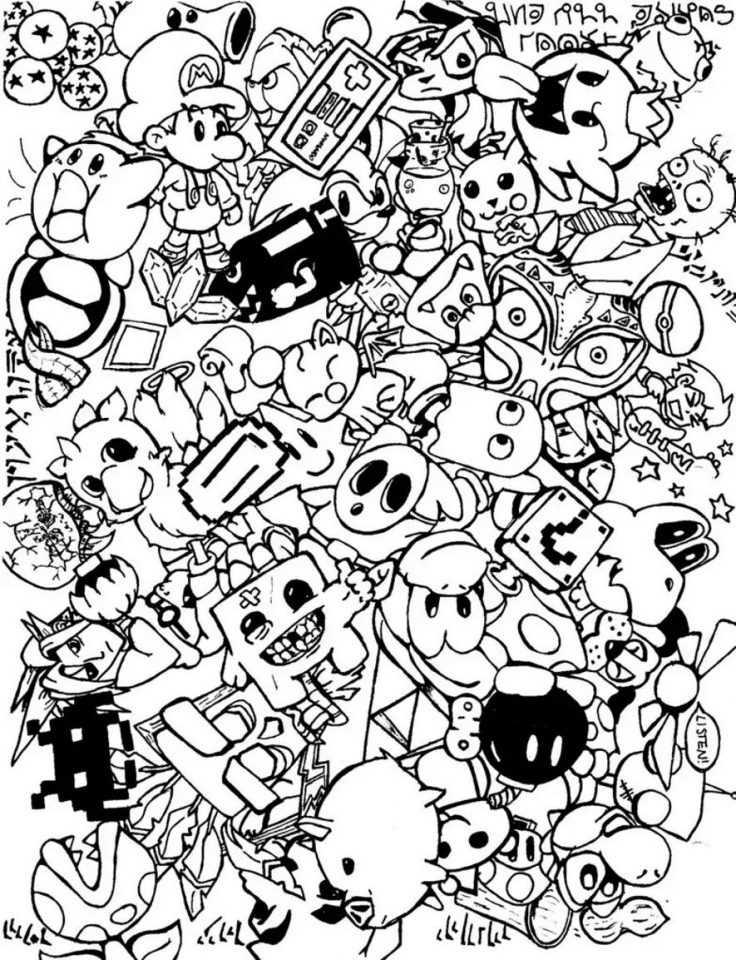 Get this free doodle art coloring pages for adults bbc54 Doodle coloring book for adults
