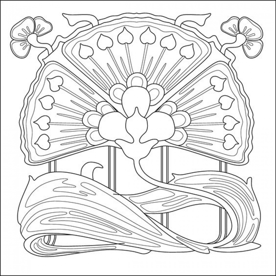 Art Deco Coloring Book Pages Adult Sketch Coloring Page Deco Coloring Page