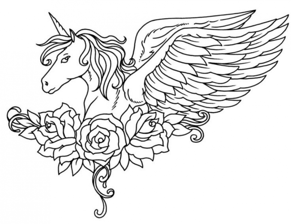 Get Unicorn Coloring Pages Adults