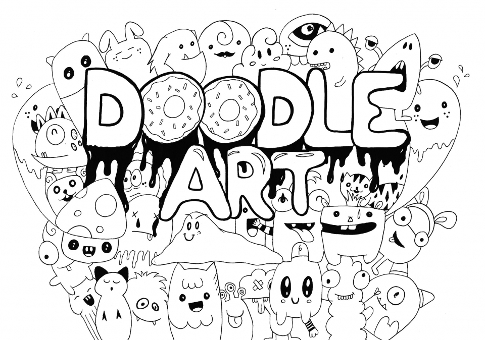 20 free printable doodle art coloring pages for adults for Art is fun coloring pages