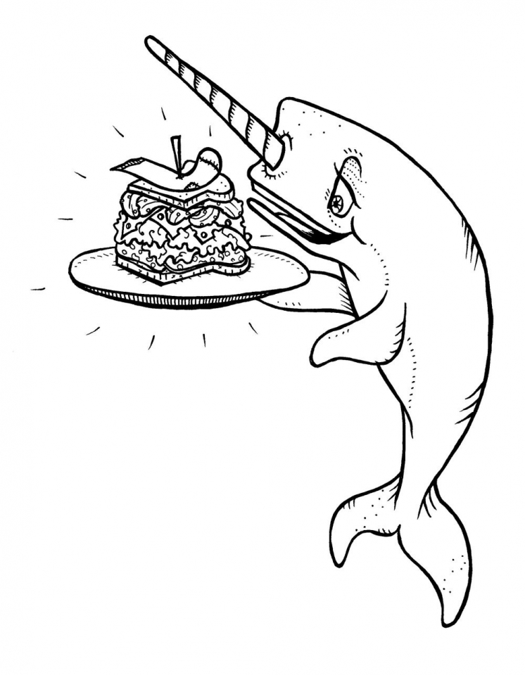 Narwhal Coloring Pages Kids Printable   BDR55