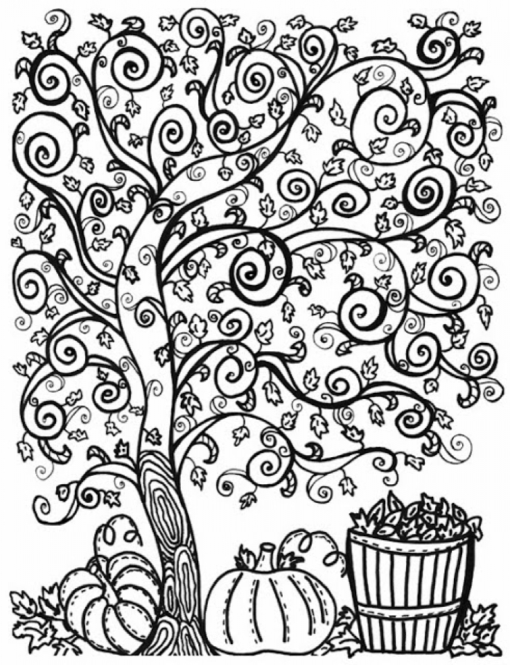 Autumn Adult Coloring Page Free