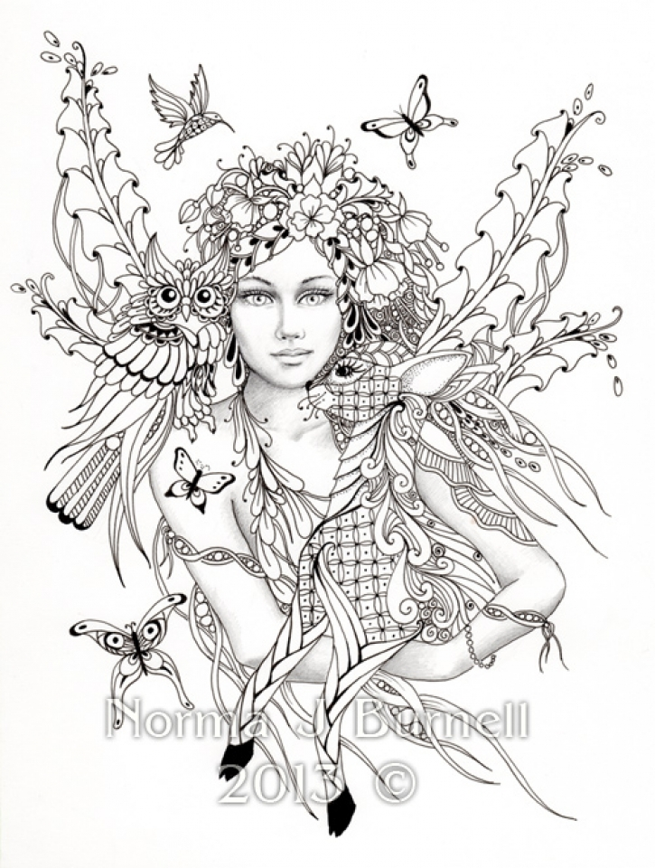 Printable Hard Coloring Pages of Angel for Grown Ups   386RYT