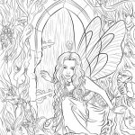 Printable Hard Coloring Pages of Angel for Grown Ups   9B649V