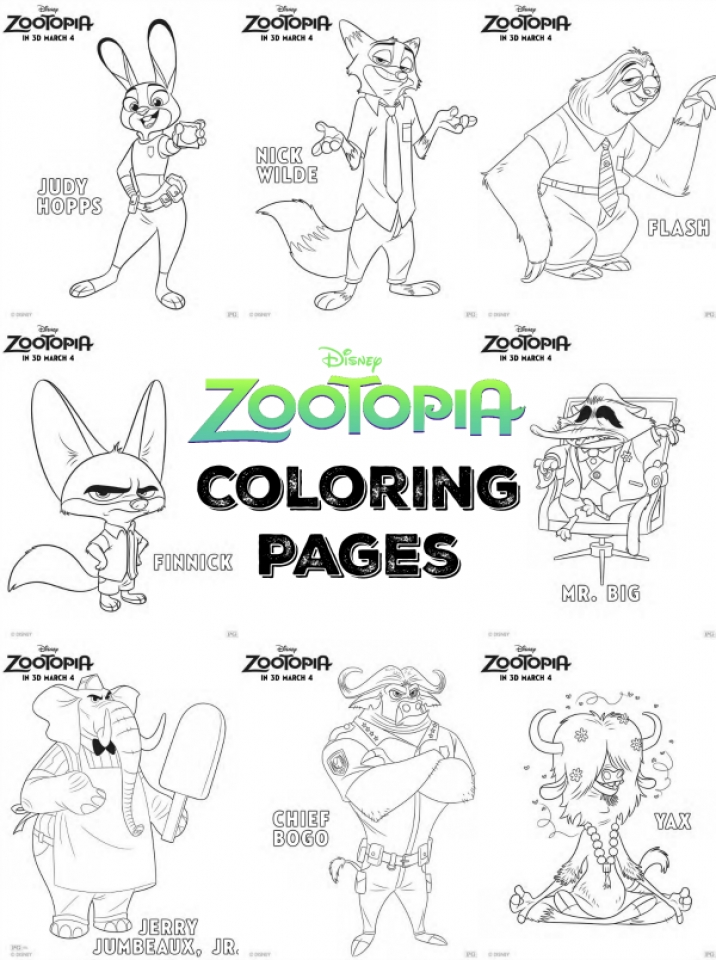 20 Free Printable Zootopia Coloring Pages