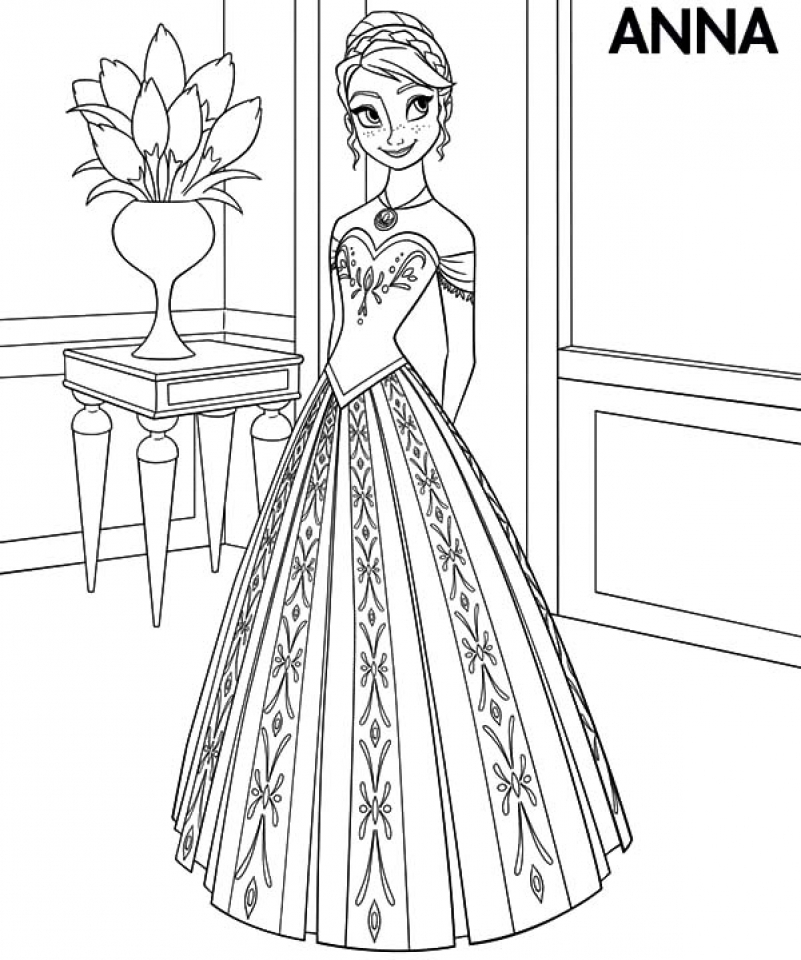 92 Coloring Pages Of Princess Anna From Frozen