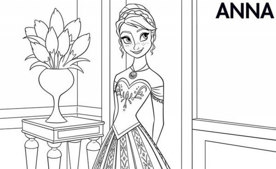Free Coloring Pages of Princess Anna from Disney Frozen   11741
