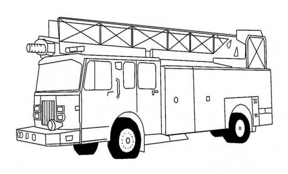 Get This Free Simple Fire Truck Coloring Page For Children 33922