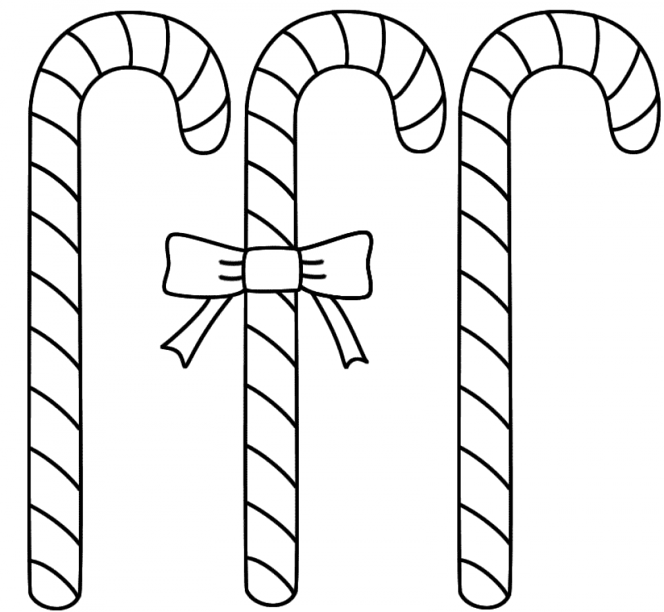 Get This Simple Candy Cane Coloring Page to Print for