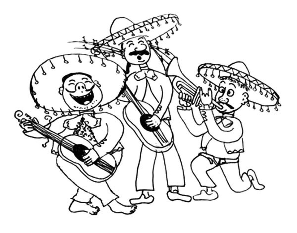 Get this mariachi band in cinco de mayo coloring pages for Band coloring pages