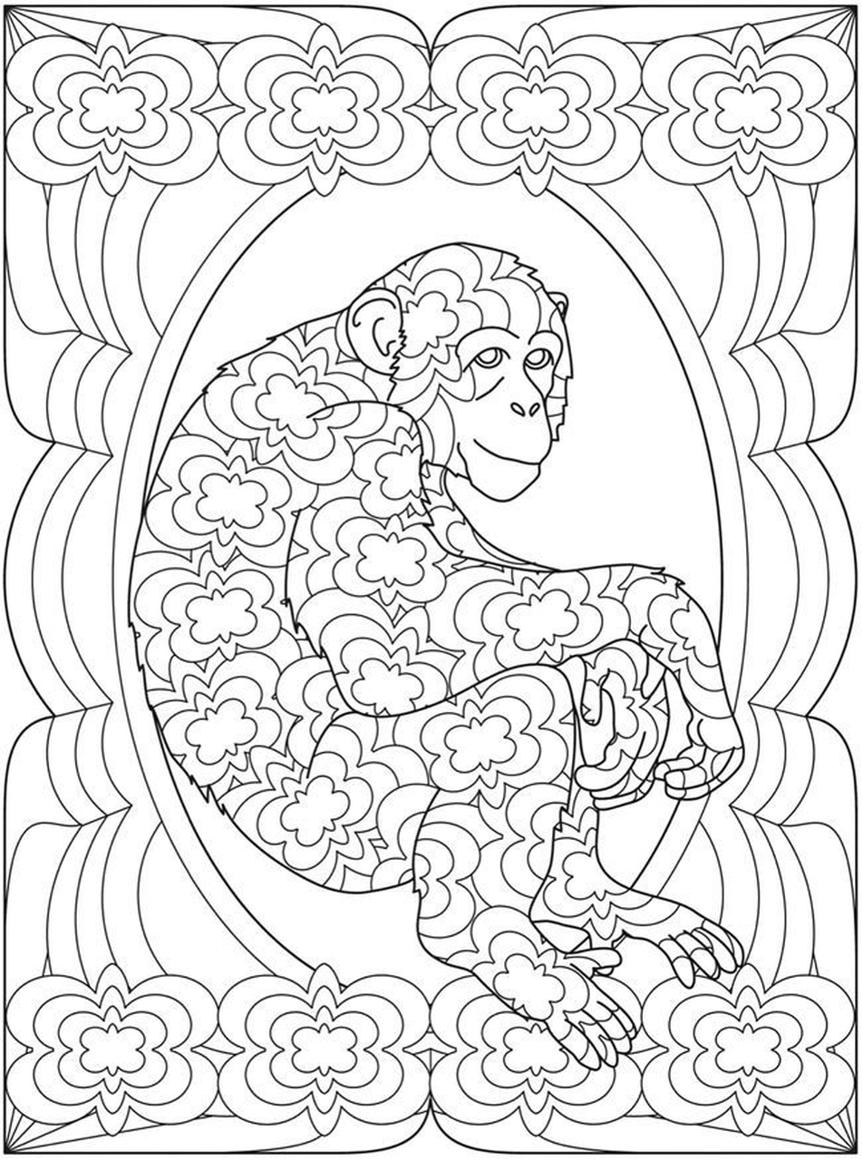 Get This Monkey Coloring Pages for Adults 93102