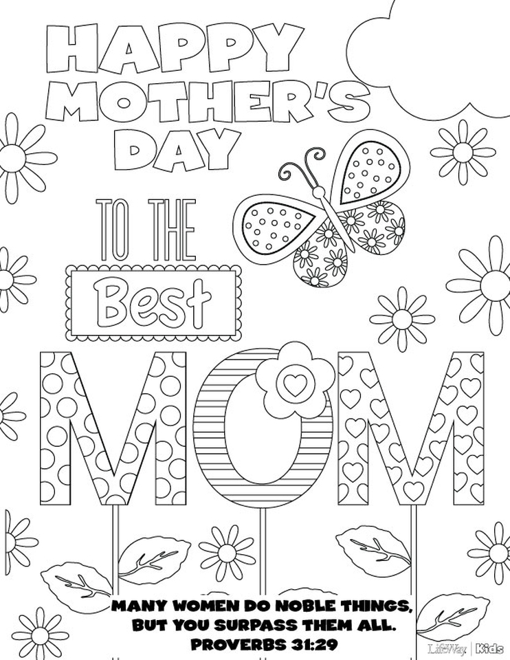 Online Printable Mother's Day Coloring Pages for Adults - 78201