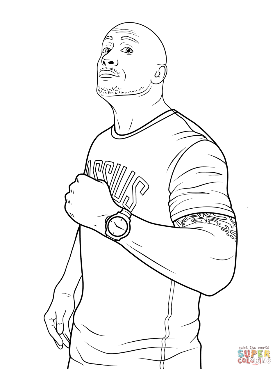 Triple h coloring pages - Printable Wwe Coloring Pages The Rock 21094